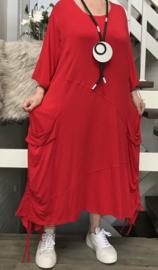 La Bass katoen A-lijn jurk/tuniek met zakken stretch /in meerdere kleuren