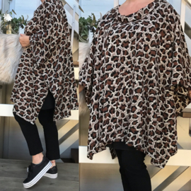 Lucy oversized jersey  poncho/tuniek met col apart (extra groot) stretch