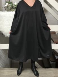 Georgia oversized A-lijn jersey jurk met kant apart (extra groot) zwart