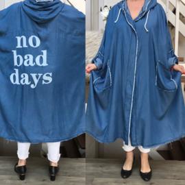 ITALIA  tencel  A-lijn oversized  blazer /jas met capuchon