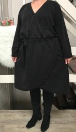 ITALIA MODA  jersey glitter jurk zwart (extra groot)