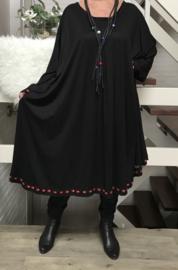 Esther oversized A-lijn jersey jurk apart (extra groot)zwart