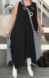 Naveed jersey asymmetrisch A-lijn jurk apart zwart/wit