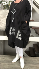 Vincenzo Allocca katoen A-lijn jurk apart zwart/silver