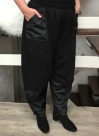 Vincenzo Allocca wijde katoen broek zwart met Taft inzet ( extra groot)