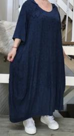 SINNE design.. A- lijn viscose/linnen jurk met capuchon