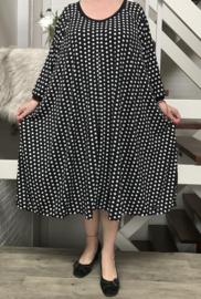 Amber oversized viscose jersey A-lijn jurk met zakken apart(extra groot)stretch zwart/wit
