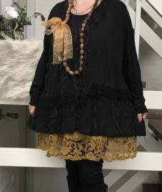 Moonshine oversized  katoen tricot top met KANT apart/in meerdere kleuren