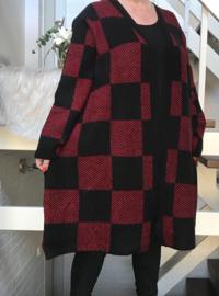 ITALY zacht gebreide vest zwart/rood ( extra groot)