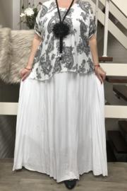 ITALIA viscose  A-lijn jurk + top  2-in-1 gevoerd