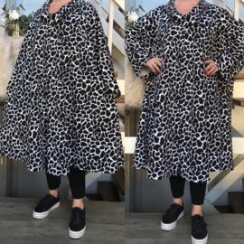 Adeline oversized A-lijn jersey blazer/jas met zakken (extra groot)  apart zwart/wit