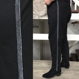 ITALIA  katoen legging met zilver bis/zwart