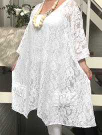 Adela oversized A-lijn KANTEN jurk/tuniek apart (extra groot) stretch