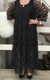 Anouk oversized A-lijn viscose kanten stretch jurk apart (extra groot) zwart