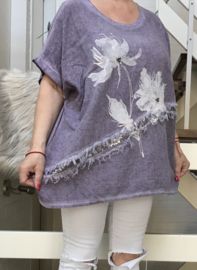 ITALIA oversized katoen/linnen blouse/top