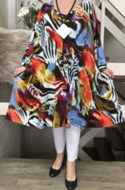 Charlotte oversized viscose jersey A-lijn jurk/tuniek met zakken apart stretch  (extra groot)stretch
