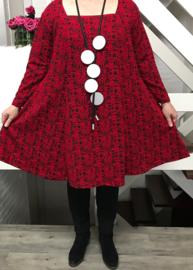 New Jersey viscose A-lijn jurk apart rood