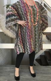 Lilian oversized gebreide katoen tuniek/poncho apart (extra groot)