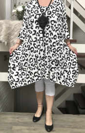 Naveed jersey jurk/tuniek apart zwart/wit