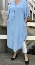 ITALIA oversized zachte wafelstof katoen blouse/hemd/tuniek