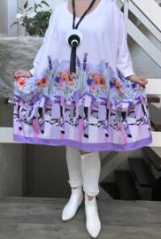 Maxima oversized jersey A-lijn jurk/tuniek met zakken apart stretch  (extra groot)