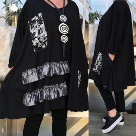 Scarlett oversized A-lijn viscose  jersey tuniek met zakken apart (extra groot)stretch zwart/wit