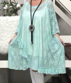 Naomi oversized A-lijn KANTEN jurk/tuniek apart (extra groot) stretch