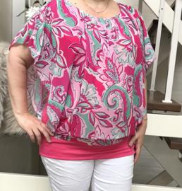 ITALIA MODA oversized viscose top/blouse met band aan de onderkant