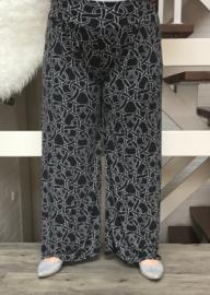 ITALIA jersey viscose broek apart (extra groot) zwart/wit
