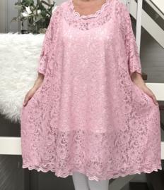 Sofie oversized A-lijn KANTEN jurk/tuniek apart (extra groot) stretch