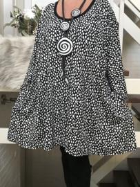 Claire oversized jersey A-lijn tuniek/ jurk met zakken apart stretch  (extra groot)zwart/wit
