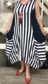 Naveed jersey strepen A-lijn jurk apart donkerblauw/wit