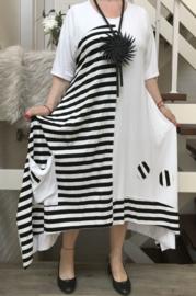 Naveed jersey A-lijn jurk apart wit/zwart  stretch