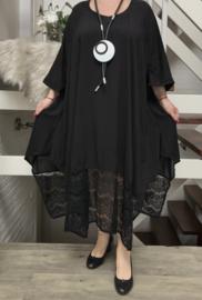 Megan oversized luchtige viscose  A-lijn jurk met zakken en inzet van KANT  (extra groot)stretch