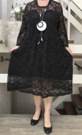 Jean Marc Philippe KANTEN jurk gevoerd/ stretch zwart