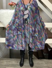 Melany oversized A-lijn jersey glitter jurk apart (extra groot)