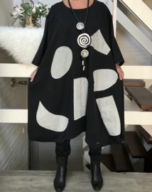 Connie oversized A-lijn viscose jurk apart (extra groot)stretch