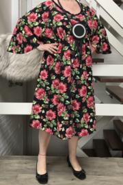 Lilly  oversized A-lijn crepe jurk  met zakken  apart (extra groot)