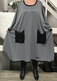 Dolly oversized pepita stof A-lijn jersey jurk apart (extra groot)