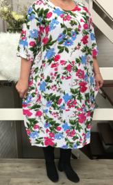 LF viscose  A-lijn bloemen jurk