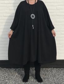 Annabel oversized A-lijn jersey jurk apart (extra groot) zwart