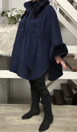 ITALIA oversized  mantel/ jas/ poncho  wol/viscose donkerbleuw