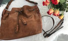 POTRI fashion XL schoudertas  kleur cognac