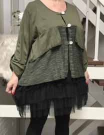 Moonshine oversized jersey vest/blazer  met inzet met stretch kant/in meerdere kleuren