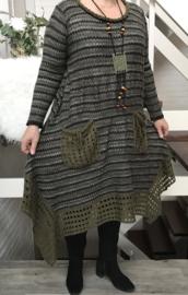 CLARITY  gebreide A-lijn jurk apart met ketting