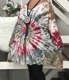 Moonshine oversized de modieuze kleuring katoen jersey tuniek met inzet van kant/in meerdere kleuren