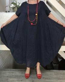 ITALIA  katoen  A-lijn jurk  apart (extra groot) donkerblauw