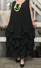 Moonshine katoen jersey A-lijn jurk met verstelbare plooien en inzet van kANT  zwart
