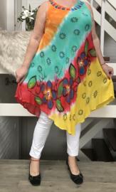 Mila  viscose geverfde asymmetrisch A-lijn jurk