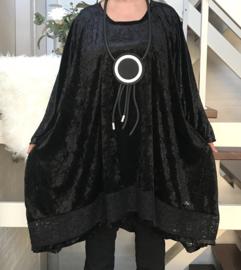 Rebecca oversized A-lijn velours stretch tuniek/jurk met kant (extra groot)zwart